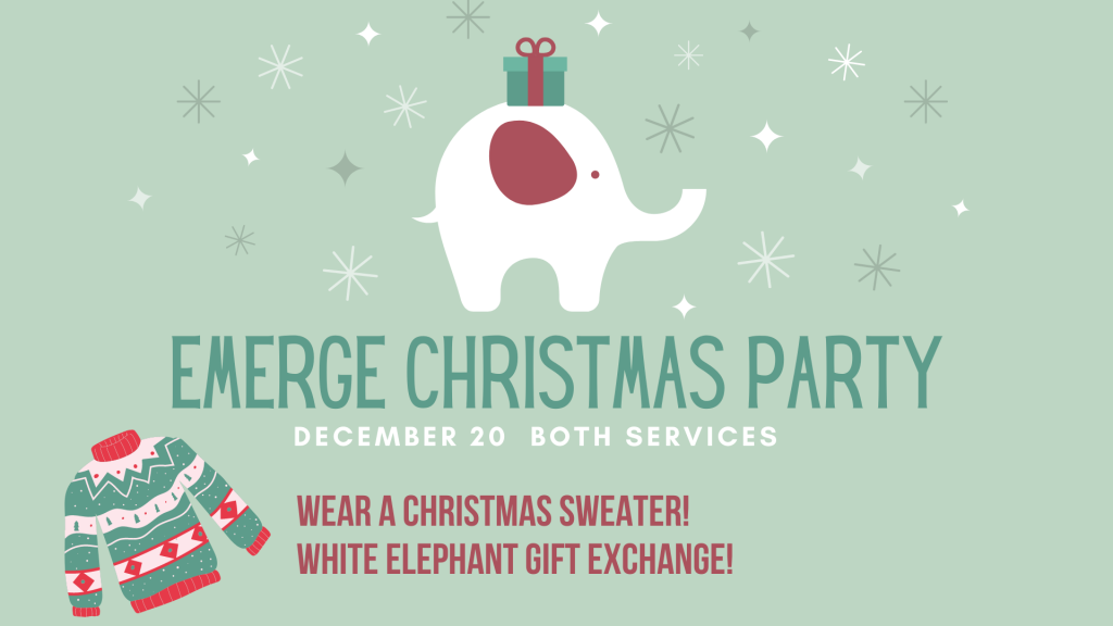 White Elephant with Gift Christmas Flyer | Community Life Church, Gulf Breeze, FL | students